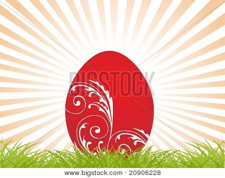 red easter egg on abstract background vector illustration