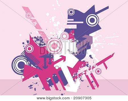abstract vector of arrow and halftone elements, illustration