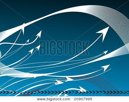 blue texture of arrows and waves background