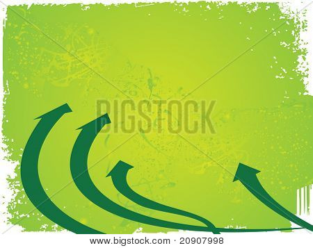 four arrows pointing up on green background, vector illustration