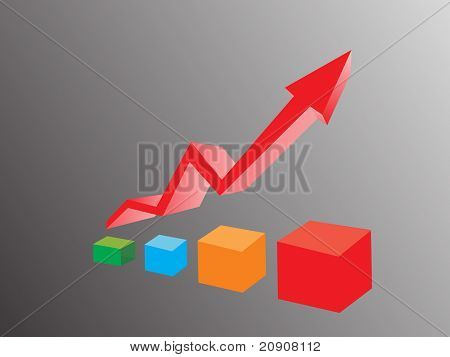 business graph and arrow isolated on black, wallpaper