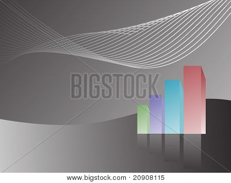 business graph with wave showing profits and gains, isolated on black