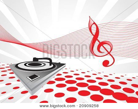 turntable on red musical background, wallpaper