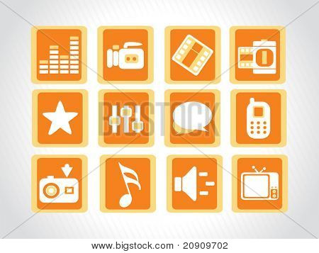 abstract beautiful web glassy icons set