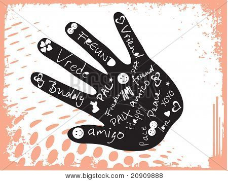 abstract grunge background with hand, vector illustration