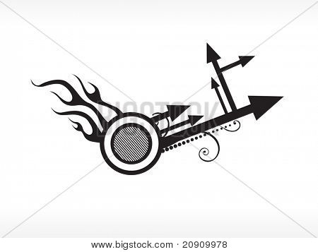 arrow with fire, vector illustration