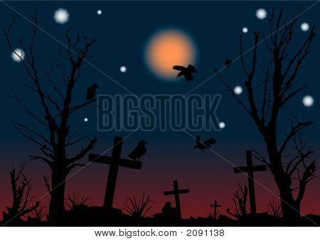 Halloween Night Scene.