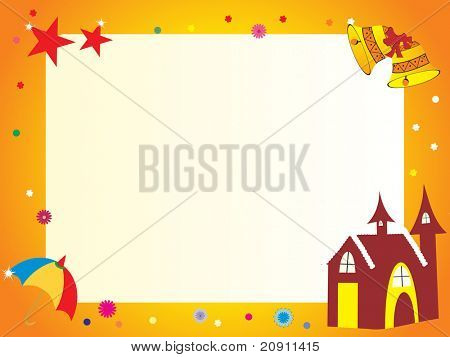 beautiful frame with house, illustration