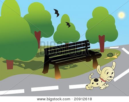 doggy playing on the road, illustration