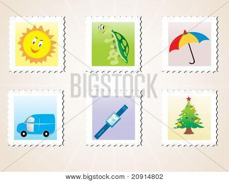 sellos de correos de ilustración del Vector, establecer