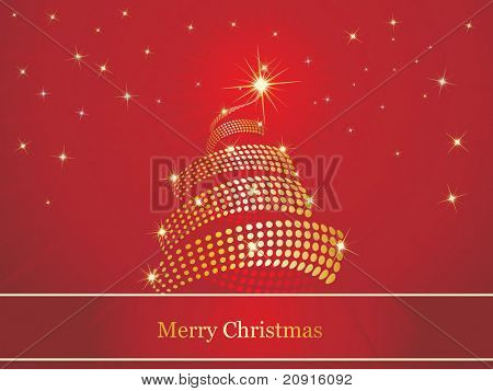 beautiful christmas background with stars  and adorned christmas tree studded with jewels, wallpaper