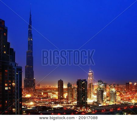 Dubai Downtown At Night