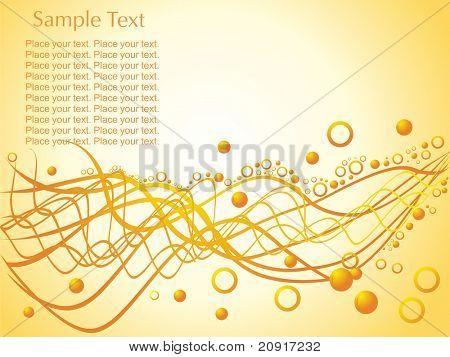 zufälliger Wellen mit Kreise und Beispieltext auf orange Hintergrund, Tapete
