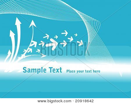 arrows on abstract blue background with waves