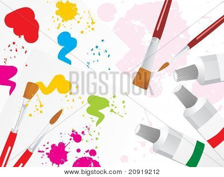Farbe Palettenhintergrunds mit Pinsel und Farbe Rohr