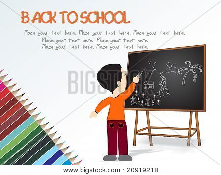 cute boy standing in front of blackboard, drawing scenery