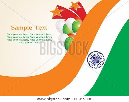 waving flag, balloon and fireworks, vector illustration