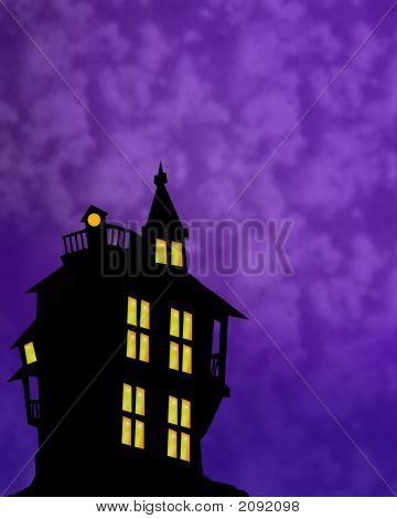 Haunted House Background With Room For Text