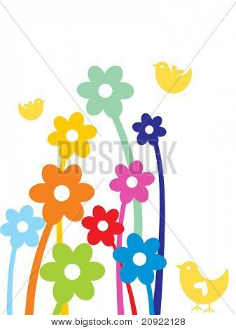 cute colorful floral background with little birds