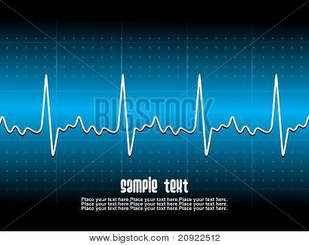 Medical abstract background showing an ecg heart beat over a technical grid