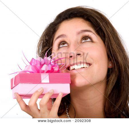 Girl Wishing For A Good Gift