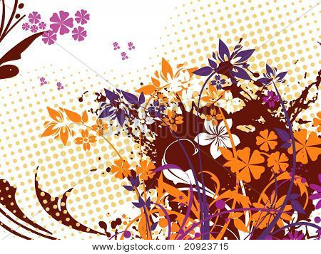 colorful flower background with brown grunge illustration