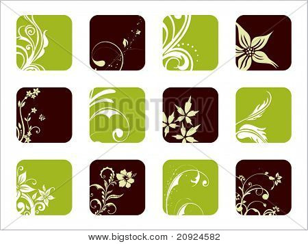 creative artwork pattern icons with floral design