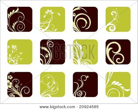 abstract set of natural floral design icons