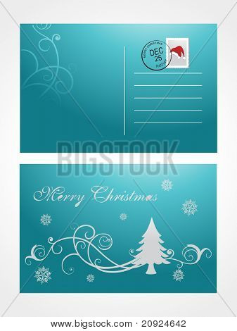 christmas post card with tree and snowflake, green