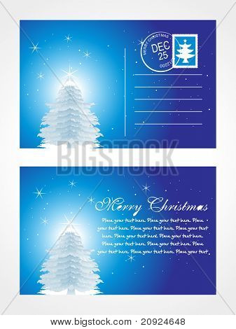 christmas post card with tree and stars
