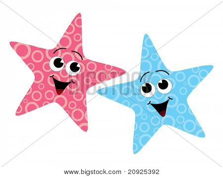 whit background with two red and blue starfish