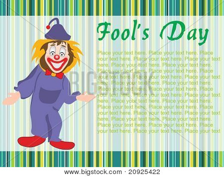 laughing jester with green lines background, vector illustration
