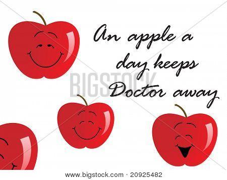 medizinischen Hintergrund mit roten Apfel und Slogan für gut Gesundheit