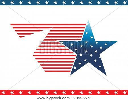 isolated blue star with us flag and blue, red star pattern border