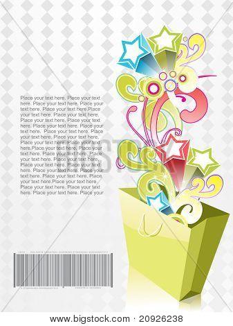 overflow shopping bag, vector illustration