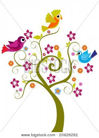 abstract funny tree background, vector illustration