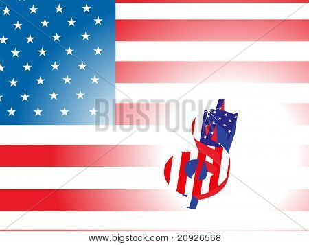 stylish dollar sign with us flag background