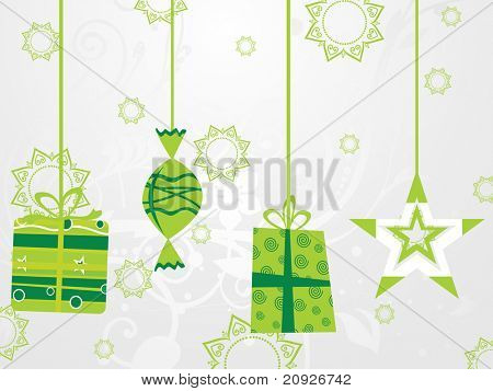 hanging green christmas icons with seamless background