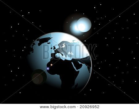 abstract black background with space in earth