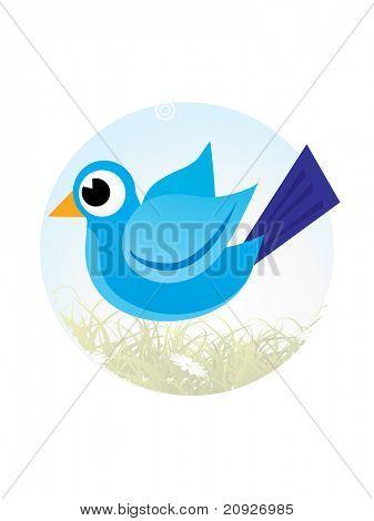bird on floral garden, vector illustration