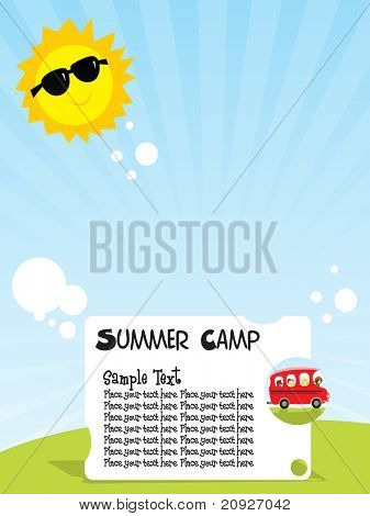 summer camp background, vector illustration
