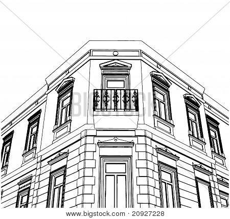 Edificio esquina Casa ecléctica Vector