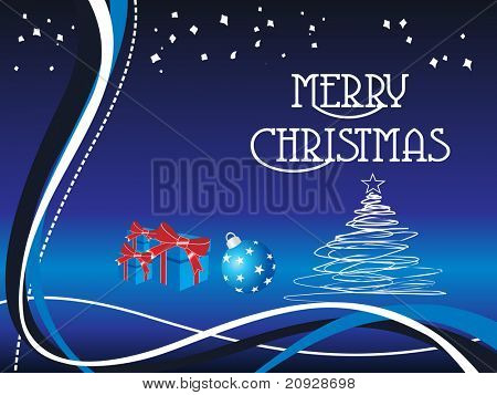 christmas background with tree, ball and gits, vector illustration