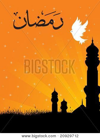 abstract orange rays background with mosque, white pigeon