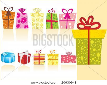 background with collection of shopping bags and gifts