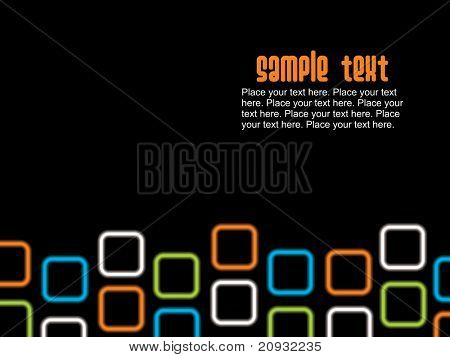 black background with colorful square