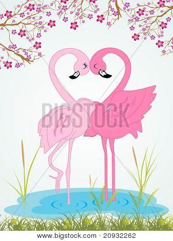 beautiful garden background with pair of waterbird making heart with neck, vector wallpaper