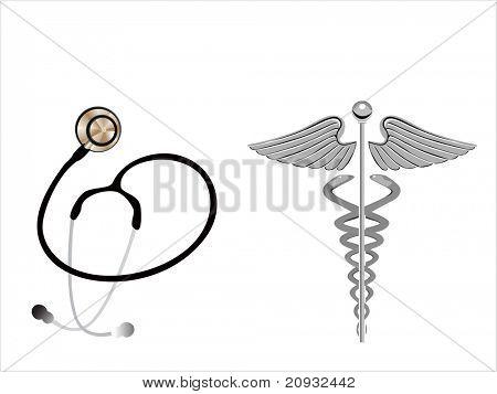 background with caduceus emblem and stethoscope