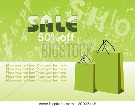 texture background with shopping bag, illustration