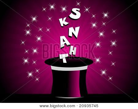 purple background with shiny star and hat with thank alphabet